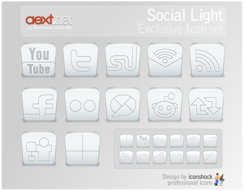 Social Light Icon Set