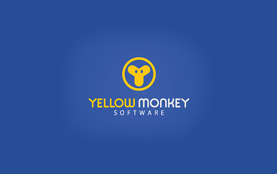 yellow circular monkey logo design