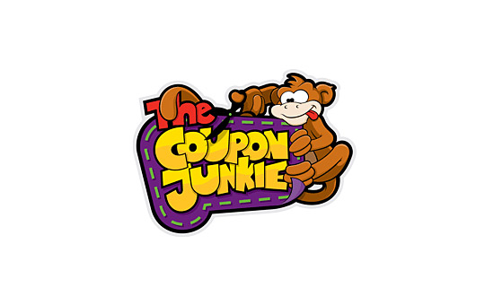 monkey cutting out a coupon logo design
