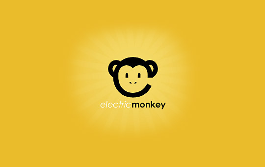 black monkey on yellow background logo design