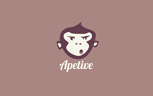 brown whistling monkey logo design