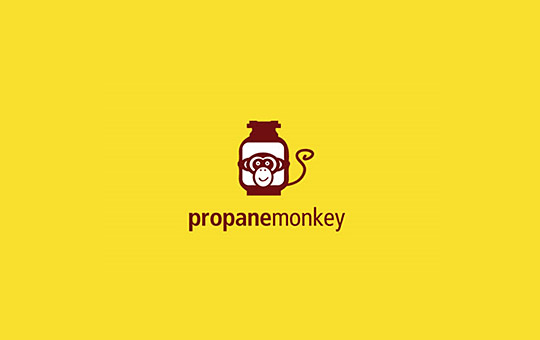 monkey tied to propan gas tank logo design