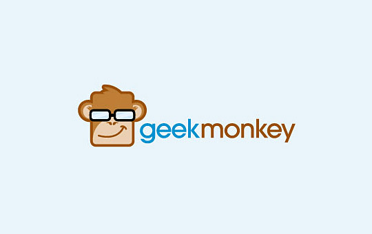 geek monkey with glasses logo design