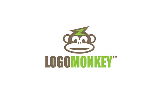 brown monkey with flash on his head logo design