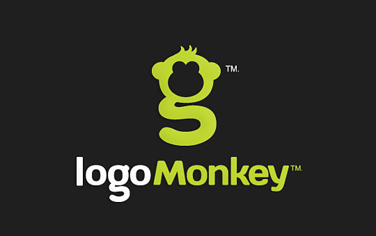 green paragraph monkey logo design
