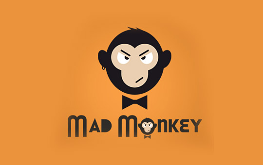 monkey with butterfly logo design