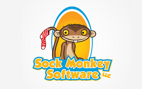 monkey with sock on his tail logo design