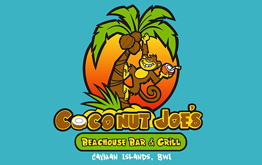 monkey on coconut tree logo design