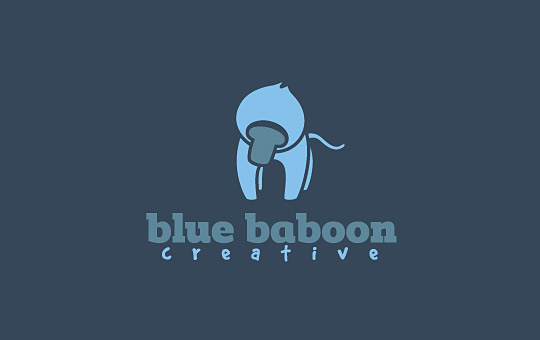 blue baboon monkey logo design