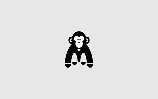 cute chimpanzee logo design