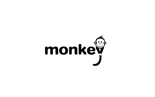 monkey part of the text logo design