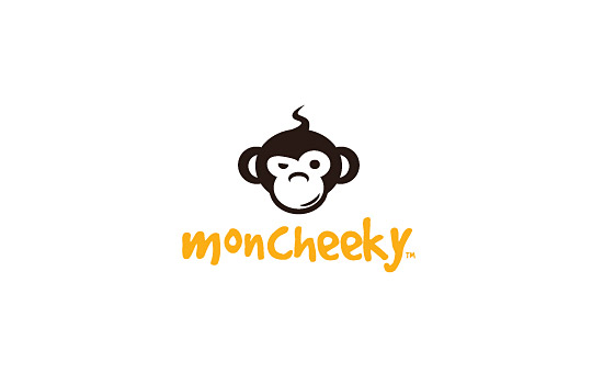 naughty monkey part of the text logo design