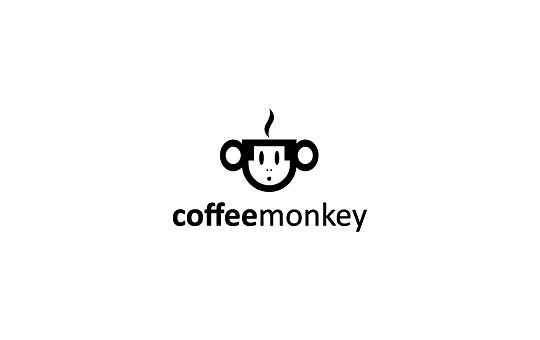 monkey coffee mug logo design