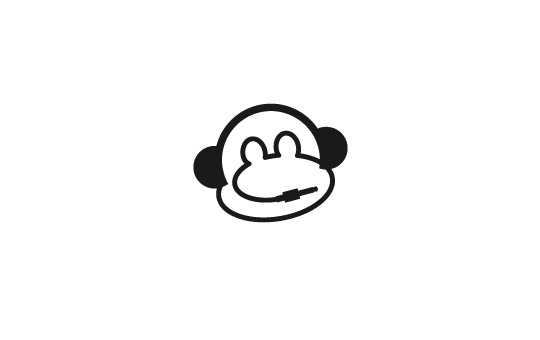 headset resembling to monkeys face logo design